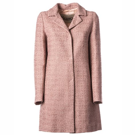 pink bouclé fabric coat