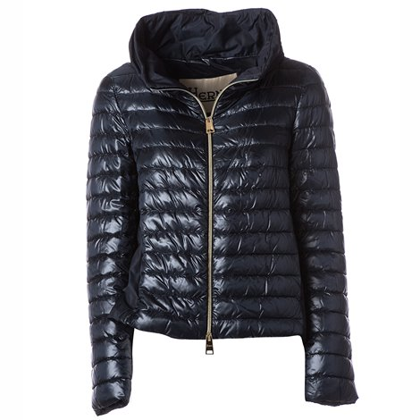 blue combined fabric padded jacket
