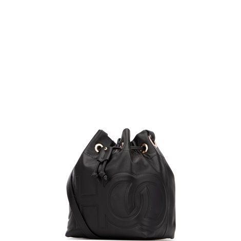logo embossed leather juno small bucket bag