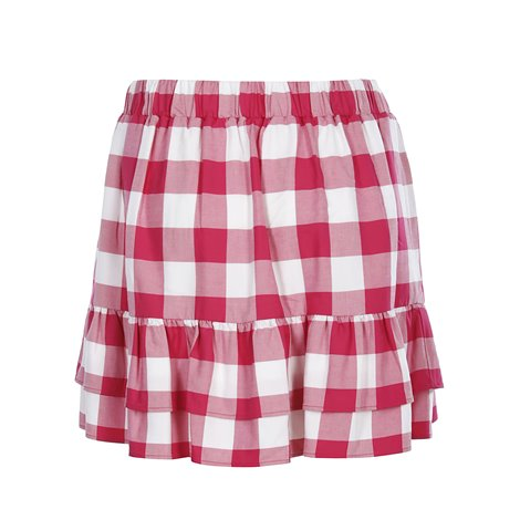 red and white checked skirt
