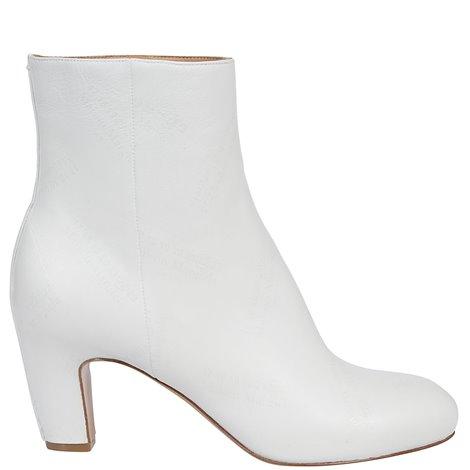 white leather booties
