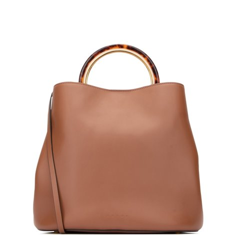 handbag pannier in tan brown smooth leather