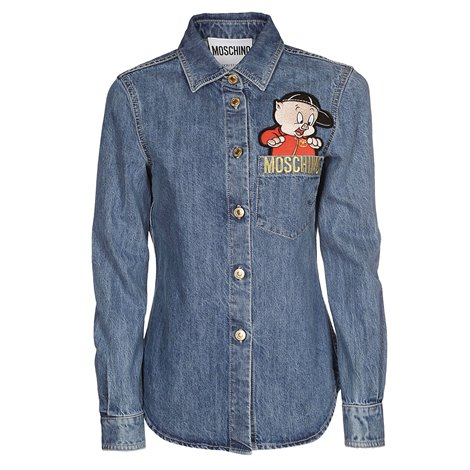 denim shirt with looney tunes patch