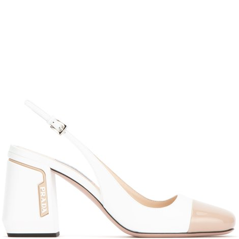 white and nude patent leather slingback pumps