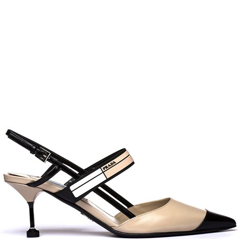 beige and black leather slingback