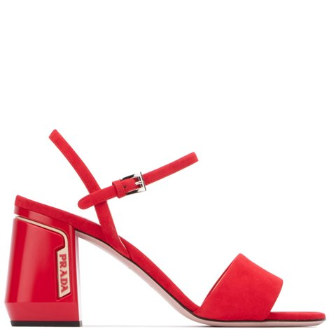 chunky heel red sandals