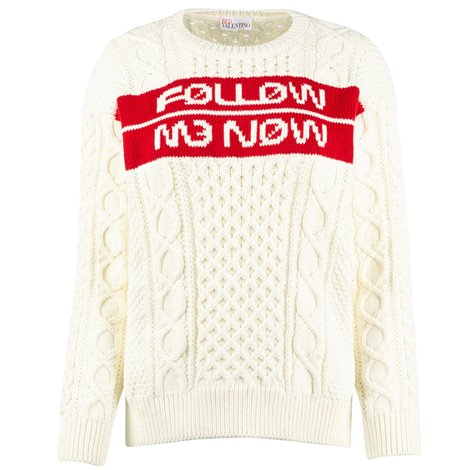 jacquard pattern ivory sweater