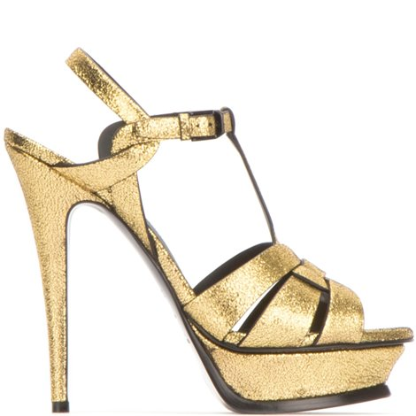 golden textured leather tribute sandals