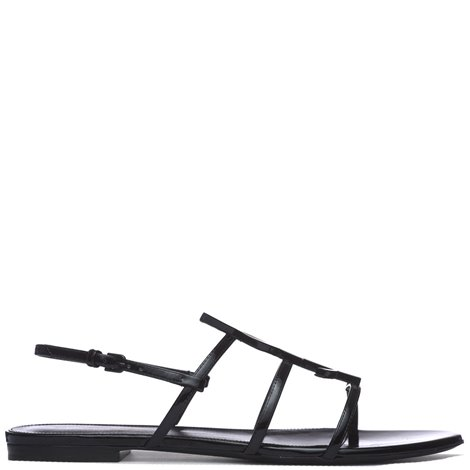 black patent leather flat sandals