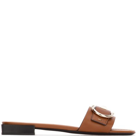 brown leather logoed sandals