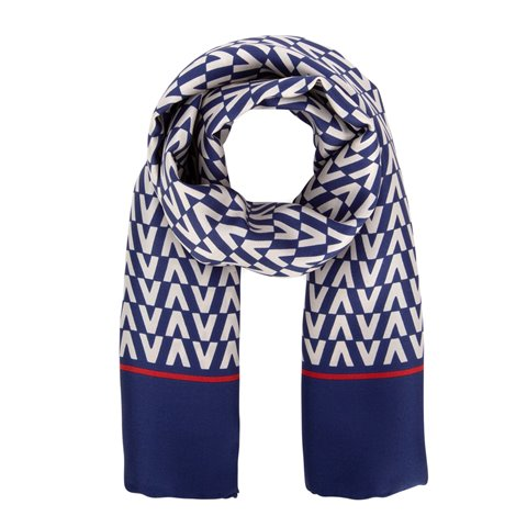 blue and red silk foulard