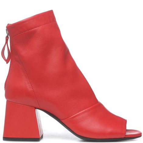 red leather open toe ankle boots