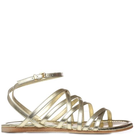 golden leather flat sandals
