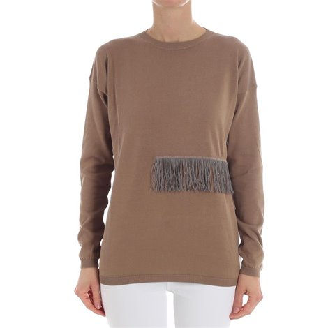 brown fringed sweater
