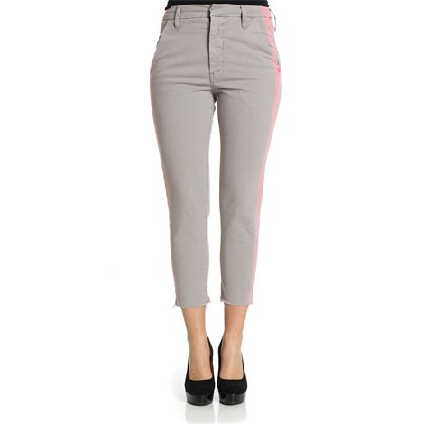 pantalone a vita alta in cotone stretch