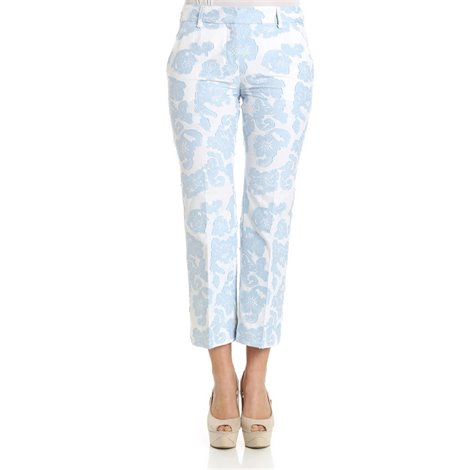 floral jaquard fabric trousers