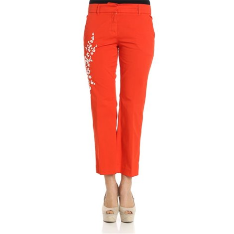 red flared cotton trousers