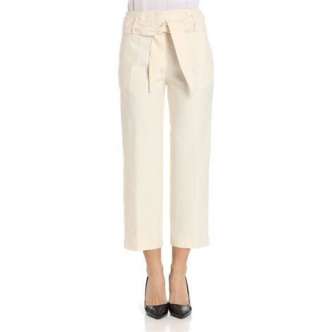 ivory cotton blend trousers