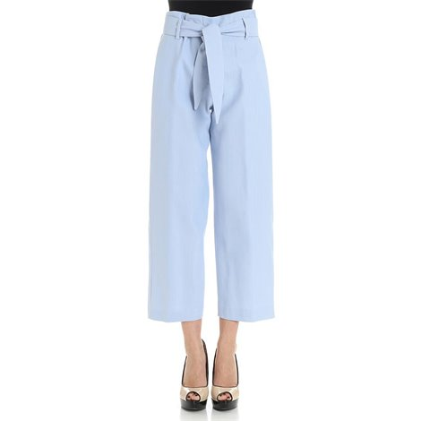 light blue belted trousers